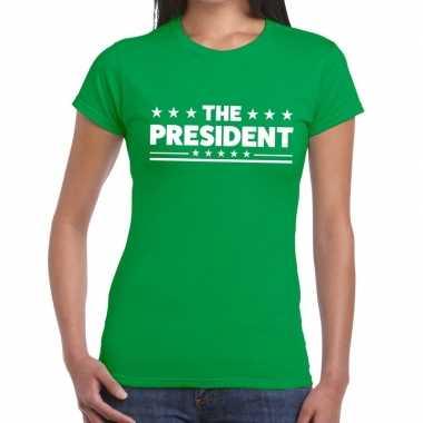 The president fun t shirt groen dames