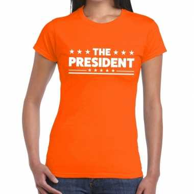 The president fun t shirt oranje dames
