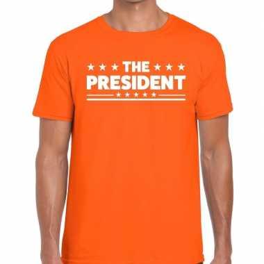 The president fun t shirt oranje heren
