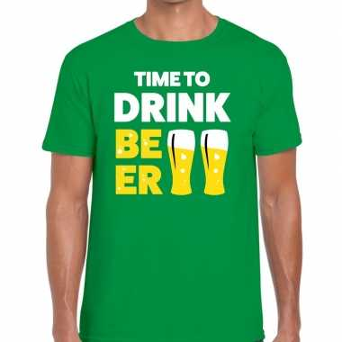 Time to drink beer fun t shirt groen heren