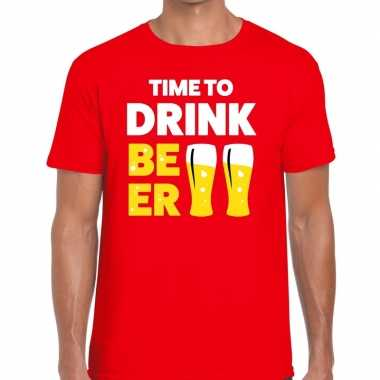 Time to drink beer fun t shirt heren rood