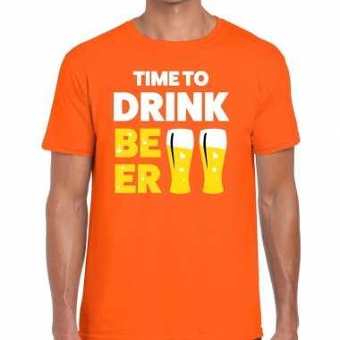 Time to drink beer fun t shirt oranje heren