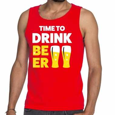 Time to drink beer fun tanktop / mouwloos shirt rood heren