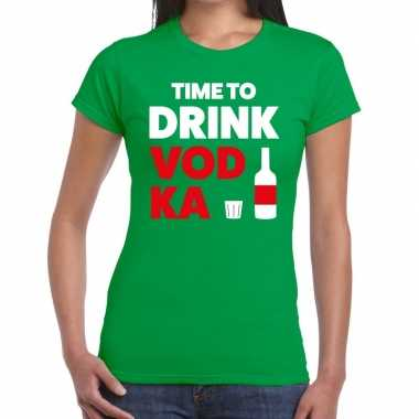 Time to drink vodka fun t shirt groen dames