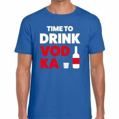 Time to drink vodka fun t shirt heren blauw