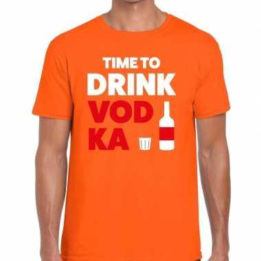 Time to drink vodka fun t shirt oranje heren