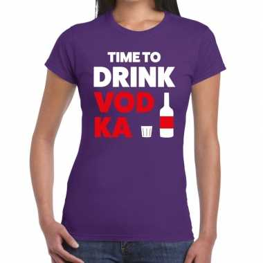 Time to drink vodka fun t shirt paars dames