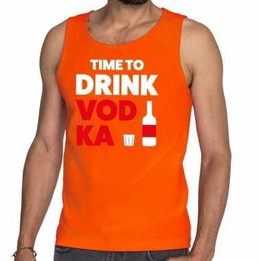 Time to drink vodka fun tanktop / mouwloos shirt oranje heren