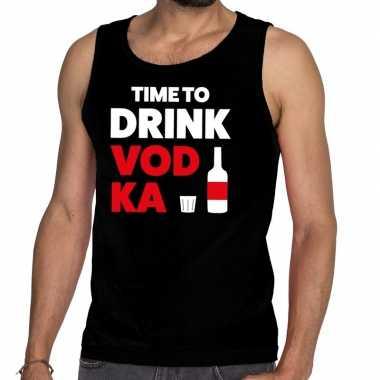 Time to drink vodka fun tanktop / mouwloos shirt zwart heren