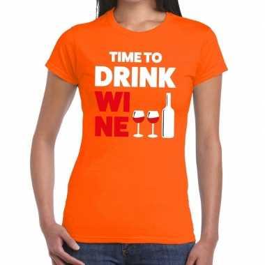 Time to drink wine fun t shirt oranje dames