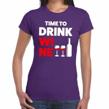 Time to drink wine fun t shirt paars dames