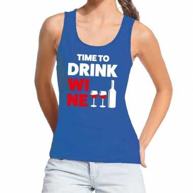 Time to drink wine fun tanktop / mouwloos shirt blauw dames