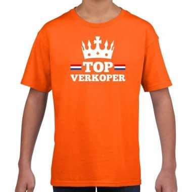 Top verkoper kroontje t shirt oranje kinderen