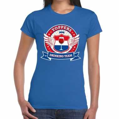 Toppers drinking team t shirt blauw dames