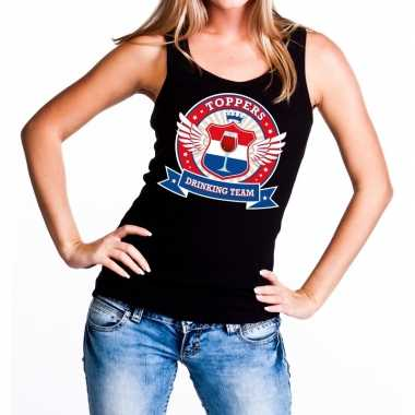 Toppers drinking team tanktop / mouwloos shirt zwart dames