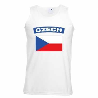 Tsjechie vlag mouwloos shirt wit heren