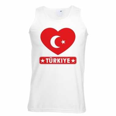 Turkije hart vlag mouwloos shirt wit heren
