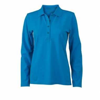 Turquoise dames poloshirt lange mouw