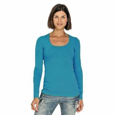 Turquoise longsleeve shirt ronde hals dames
