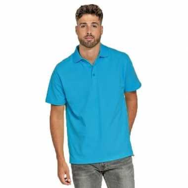 Turquoise poloshirt heren