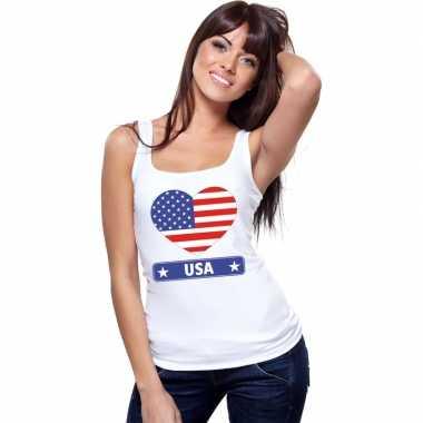 Usa amerika hart vlag mouwloos shirt wit dames