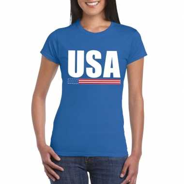 Usa / amerika supporter t shirt blauw dames
