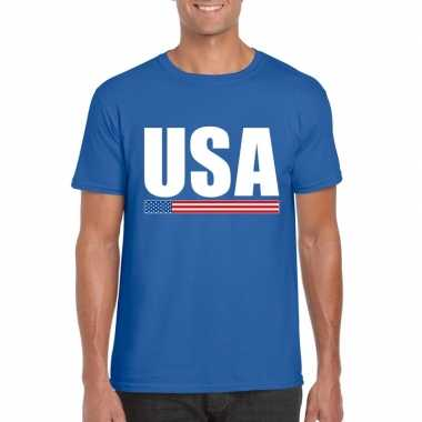 Usa / amerika supporter t shirt blauw heren