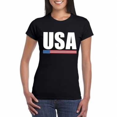 Usa / amerika supporter t shirt zwart dames