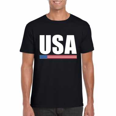 Usa / amerika supporter t shirt zwart heren