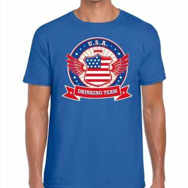 Usa drinking team t shirt blauw heren