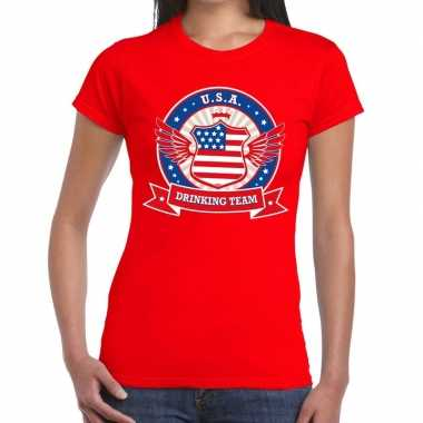 Usa drinking team t shirt rood dames