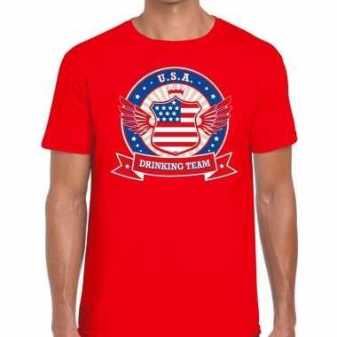 Usa drinking team t shirt rood heren