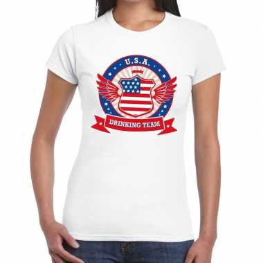 Usa drinking team t shirt wit dames