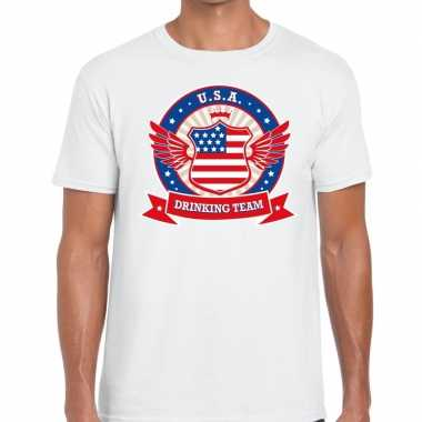 Usa drinking team t shirt wit heren