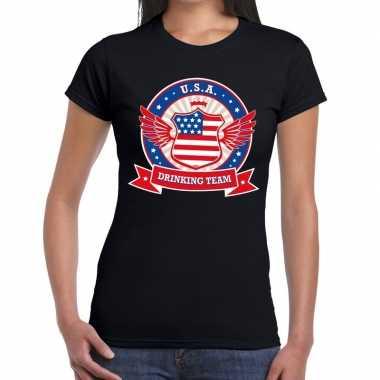 Usa drinking team t shirt zwart dames