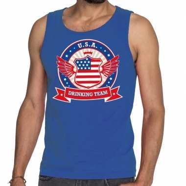 Usa drinking team tanktop / mouwloos shirt blauw heren