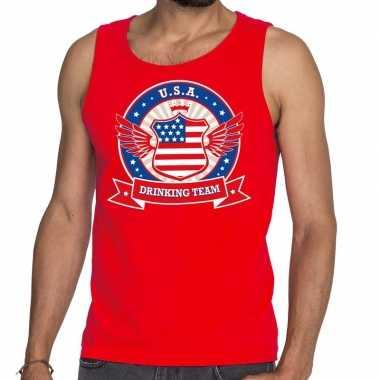 Usa drinking team tanktop / mouwloos shirt rood heren