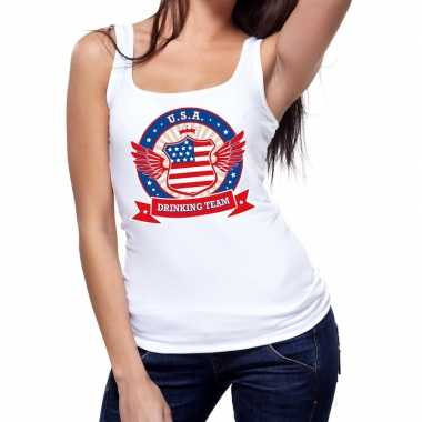 Usa drinking team tanktop / mouwloos shirt wit dames