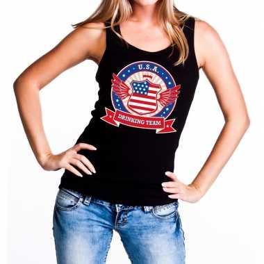 Usa drinking team tanktop / mouwloos shirt zwart dames