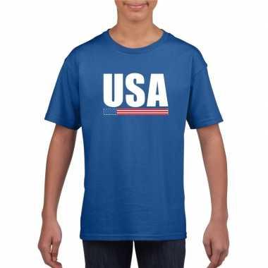 Usa supporter t shirt blauw kinderen