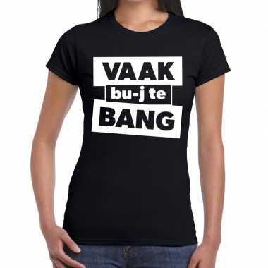 Vaak bujte bang zwarte cross t shirt zwart dames
