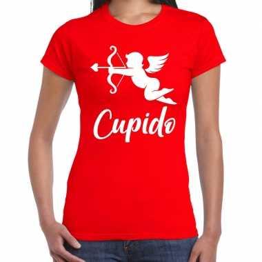 Valentijn cadeau verkleed shirt rood cupido bedrukking dames 10181601