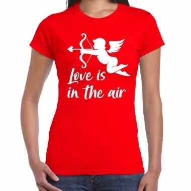 Valentijn cadeau verkleed shirt rood cupido bedrukking dames