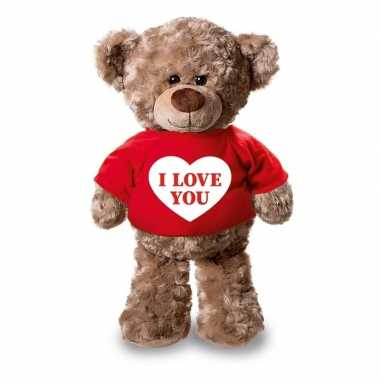 Valentijn i love you knuffelbeer rood shirtje 24