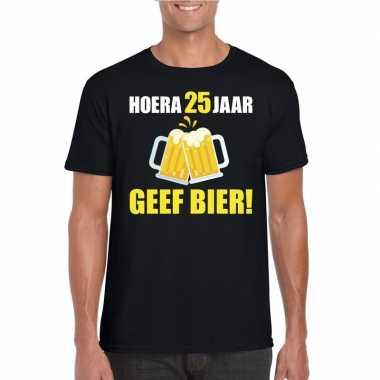 Verjaardag shirt 25 jaar geef bier heren