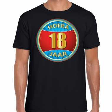Verjaardagscadeau shirt hoera 18 jaar zwart heren