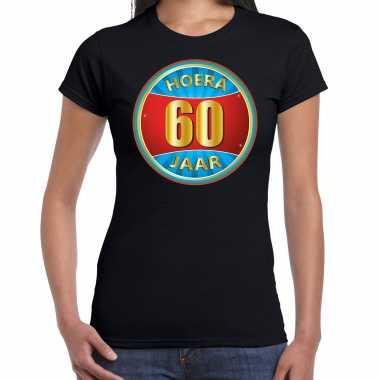 Verjaardagscadeau shirt hoera 60 jaar zwart dames