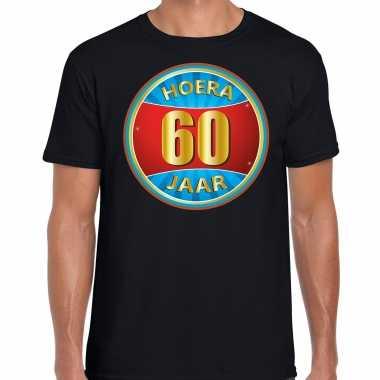 Verjaardagscadeau shirt hoera 60 jaar zwart heren