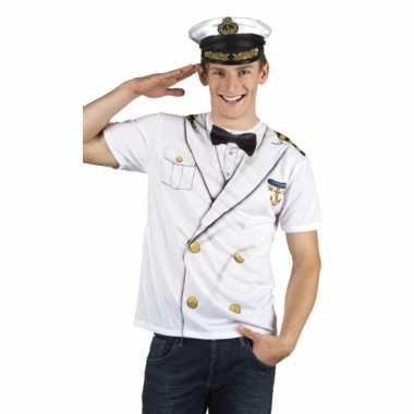 Verkleed t-shirt kapiteinspak heren