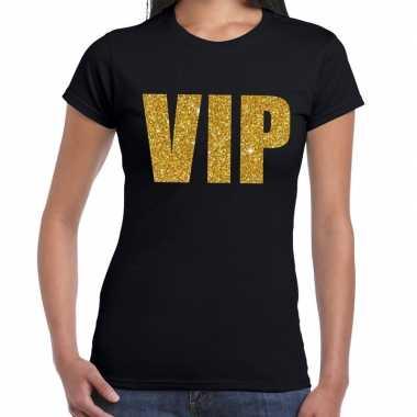 Vip fun t-shirt zwart goud dames